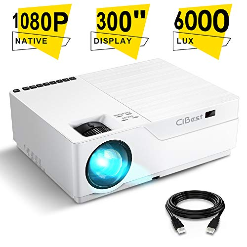 Projector, CiBest Native 1080p LED Video Projector 6000 Lux, 300 Inch Image Display Ideal for PPT Business Presentations Home Theater, Compatible with HDMI,VGA,USB,Fire TV Stick,Laptop,PS4,Xbox