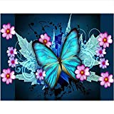LKAZLL Oil Painting Kits DIY Paint by Numbers Canvas Home Decoration Art Wall Gift Blue Butterfly and Flower 16x20 inch