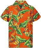Funky Camisa Hawaiana, Manga Corta, Strelitzie, Naranja, XS
