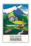 Pacifica Island Art Los Alpes-Los Trenes y autobuses de ferrocarriles franceses SNCF-(ferrocarriles franceses)-Viaje del ferrocarril del Cartel del por Jean Jacquelin c.1966-13inx19