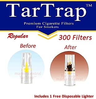 TarTrap Disposable Cigarette Filters - Bulk Economy Pack (300 Per Pack) + 1 Free Lighter