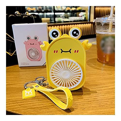 HMEI Llavero Mini con Ventilador portátil de Mano de Mute, Ventilador de la Llave del Ventilador del Ventilador del Escritorio USB con luz, para Viajes, Camping, Oficina, hogar (Color : Yellow-Crab)