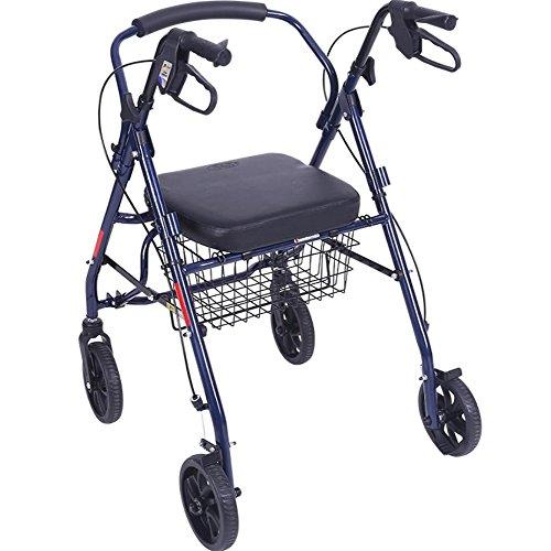 Blauer Leichter Rollator Mit Rad des Sitzes 4, Walker-Mobilitäts-Gehender Rahmen-Rollator-Wanderer Höhenverstellbar Mit Sicherheitsbremse