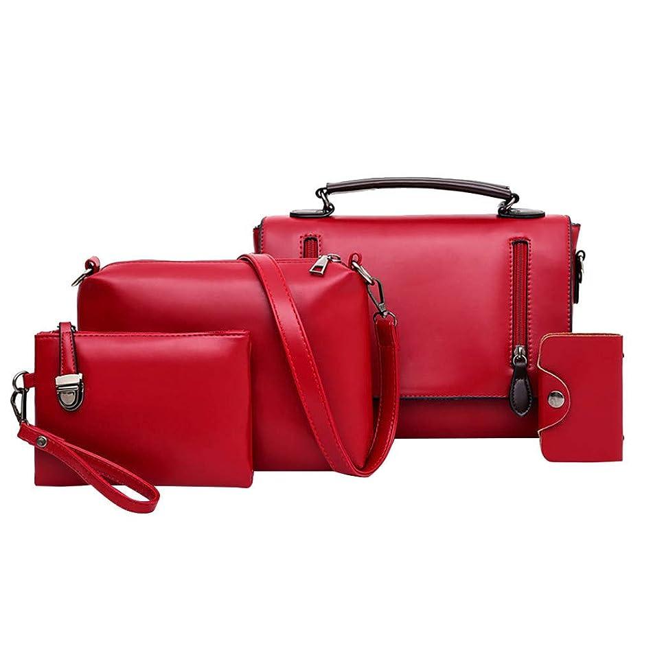 Women Ladies Fashion Handbags Leather Top Handle Satchel Shoulder Tote Bag Shoulder Bag Purse Card Holder Set of 4 for Travel Work