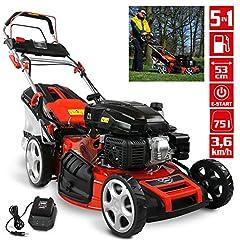 HECHT 5-IN-1 Bensin Gräsklippare - Kraftfull 4-takts Eco Motor 4,4 kW (6,0 hk) - Elstart - 53 cm Klippbredd - 75 l Fångstkorg - Hjuldrift - Patenterade hjul - EasyClean - Mulchklippare