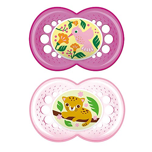 MAM Crystal Pacifier (2 pack, 1 Sterilizing Pacifier Case), Pacifiers 6 Plus Months, Best Pacifiers for Breastfed Babies, Baby Girl, Baby Pacifiers, Designs May Vary