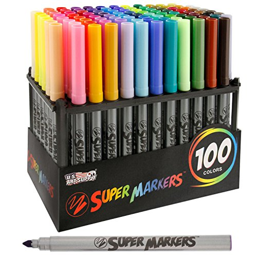 Super Markers Set with 100 Unique Marker Colors - Universal Bullet Point Tips for Fine and Bullet Lines - Bold Vibrant Colors - Includes a Marker Storage Rack