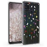 kwmobile Hülle kompatibel mit Samsung Galaxy A21s - Handyhülle - Handy Hülle Wildblumen Ranke Mehrfarbig Transparent