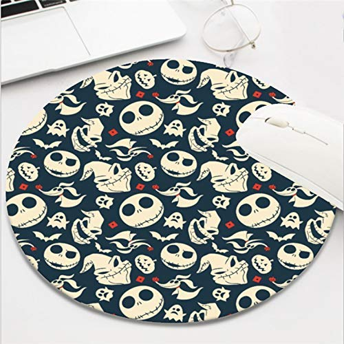 Computer Gaming Mouse Pad Waterproof Non-Slip Rubber Material Round Mouse Mat for Office and Home(8 Inch)-Nightmare Before Christmas oh What Joy Pattern