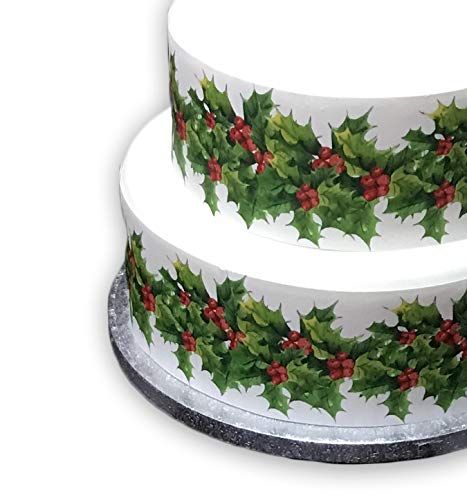 Top That Edible Decor Icing Sheet Christmas HOLLY & BERRIES Border Ribbon - Perfect for Decorating Your Cakes- Easy to Use