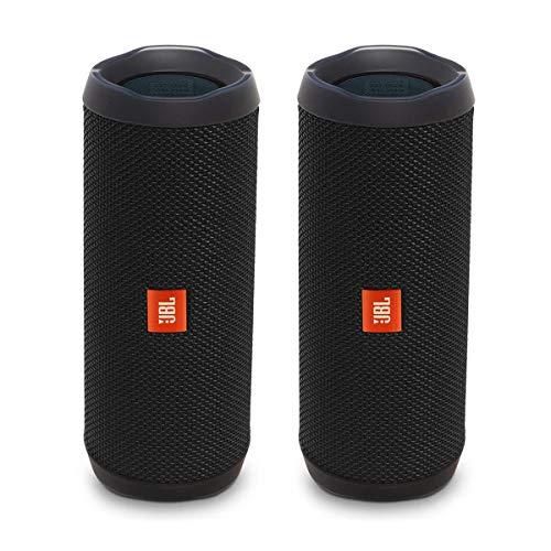 JBL Flip 4 Portable Waterproof Bluetooth Speaker - Pair - Black (Factory...