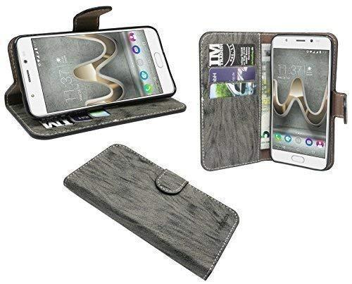 ENERGMiX Elegante Buch-Tasche Hülle kompatibel mit WIKO U Feel Prime in Anthrazit Leder Optik Wallet Book-Style Cover Schale
