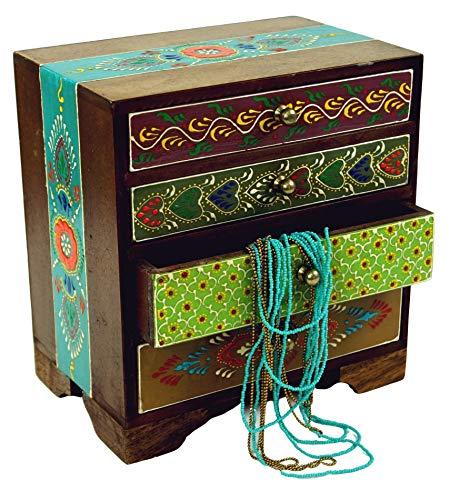 Guru-Shop Pequeño Armario de Farmacia, Joyero, Armario de Cajones Pintados a Mano - Modelo 8, Multicolor, 22x20x13 cm, Latas, Cajas Ataudes