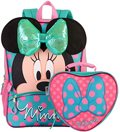 Disney Minnie Mouse 16' Backpack and Lunch Bag 2 Piece Set 3D Bow