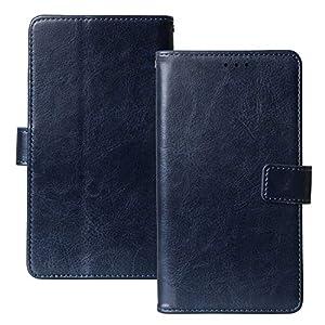 Lankashi Book Stand Premium Retro Business Flip Leather Protector TPU Silicone Case For Nokia 105 (2019) Cover Etui Wallet (Dark Blue)