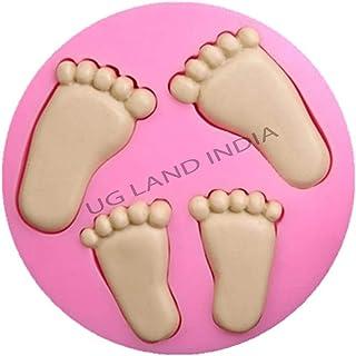 UG LAND INDIA Baby Feet Footprints Silicone Mold,Soap Clay Fimo Chocolate Sugarcraft Baking Tool DIY Cake Silicone Mold fo...