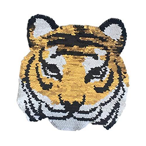 sharprepublic Wende-Pailletten - Tiger Hotfix Bügelbild Pailletten Applikation zum aufbügeln oder Augnähen von Jeans, Jacken, T-Shirts