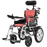 BXZ Silla de ruedas Silla de ruedas eléctrica de servicio pesado con reposacabezas, silla eléctrica portátil plegable y liviana con cinturón de seguridad, energía eléctrica o manipulación manual para