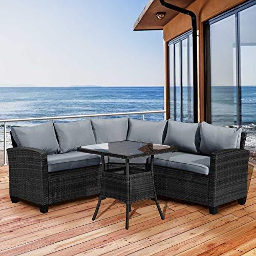 BRAST Poly-Rattan Sitzgarnitur Sofa Essgruppen-Kombi Balcony 5 Personen Schwarz/Grau Garten Lounge Sitzgruppe Gartenmöbel