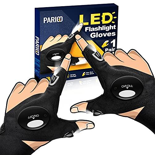 LED Flashlight Gloves Gifts for Men Women, Stretchy Fingerless Gloves for Large Hands, Unique LED Light Gloves Gadget, Cool Stuff Gift Idea for Husband, Boyfriend, Guy, Him, Mechanic (Black)