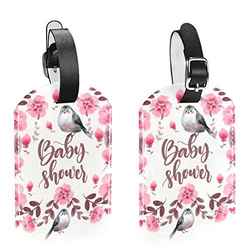 Etiquetas de equipaje, de cuero personalizado etiqueta de equipaje conjunto de etiquetas de identificación de equipaje accesorios de viaje - Set de 2 hermosas aves de acuarela y flores-01