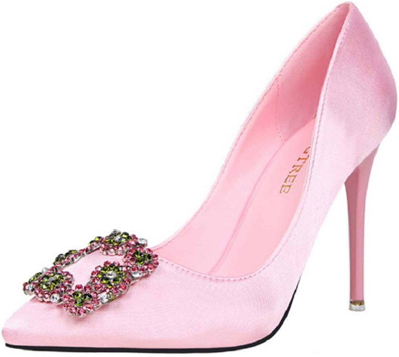 Women's Ladies Slip On Pointed Toe Stiletto Heels Shallow Mouth Party Dress High Heel Sexy Slim Shiny Rhinestone Wedding Bridal shoes