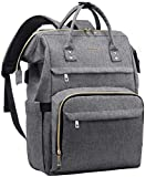 Laptop Backpack for Women Fashion Travel Bags Business Computer Purse Work Bag with USB Port, Grey, 14-Inch