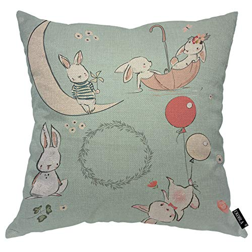 EKOBLA Lovely Hare Throw Pillow Covers Cute Bunny Rabbit On Moon Balloon Umbrella Flowers Green Leaves Decorative Square Cushion Case for Merry Christmas Men Women Home Decor Cotton Linen 20x20 Inch