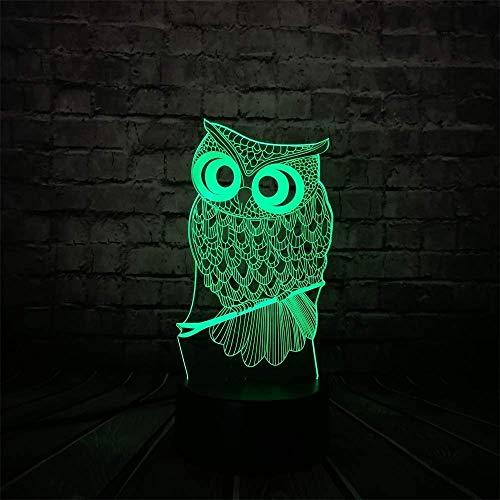 Ilusión 3D Luz nocturna 7 colores Visión LED Kawaii Animal Búho Escritorio Mesa Arte Hogar Dormitorio infantil Decoración para dormir Fiesta de vacaciones Colorido Regalo creativo Control remoto