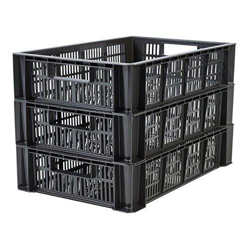 Iris Ohyama 135756 Set de 3 caisses de rangement, Plastique, Noir, 18 L