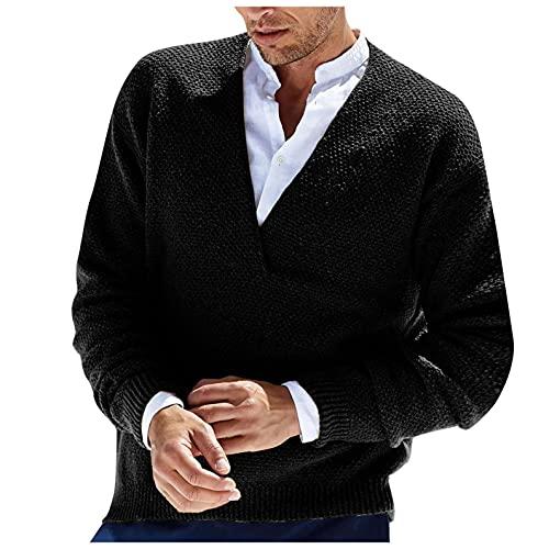 NHNKB Jersey de punto grueso para hombre, de lana y acrílico, cuello en V, Negro , L