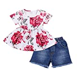 Toddler Baby Girl Clothes Floral T-Shirt Tops + Denim Short Pants Outfit Sets 18-24 Months
