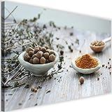 Feeby Cuadro de Pared XXL Condimentos Impresión Lienzo Cocina Multicolor 120x80 cm