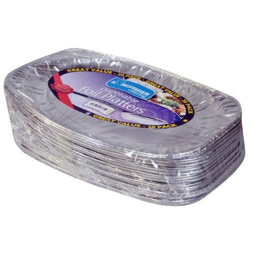 Kingfisher Lot de 20 assiettes jetables en aluminium Argenté 35,6 cm