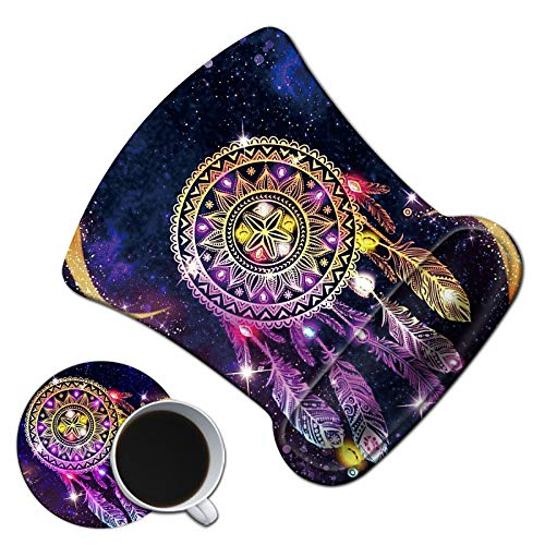 Dikoer Ergonomic Mouse Pad with Gel Wrist Support Cute Sky Dream Catcher Mousepad with Coasters Non-Slip Pain Relief Comfort Wrist Rest Mat for Laptop Gaming Internet Cafe Home Office
