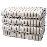Brazilian Beach/Pool Towel - Ultimate Luxury XL 36x70 100% Cotton Absorbent Wave (4 Towels, Tan/Beige)