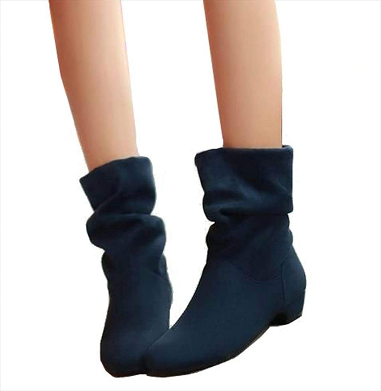 広告大工じゃないくしゅくしゅ スエード素材 ショート ブーツ シンプル デザイン レディース ブーティ 22.5cm-25cm 黒 青 赤 (ブルー, 25.0cm)