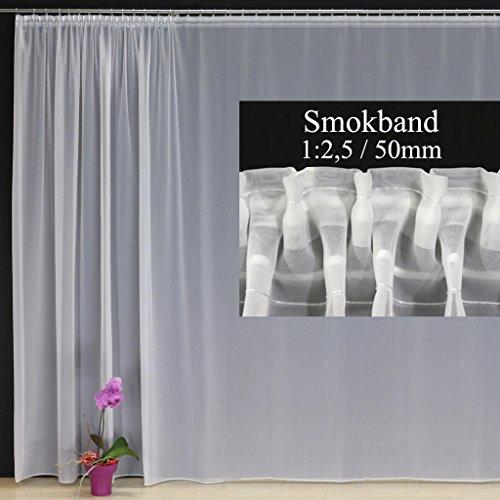 EASYHomefashion Hochwertige Fertiggardine Voile Store mit Faltenband&Bleiband SMOKBAND 1:2,5/50 mm, versch. Größen, 170 x 550 cm (HöhexBreite)