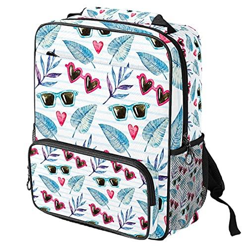 Sac à dos décontracté pour ordinateur portable, sac de travail tendance avec impression de lunettes de soleil et de feuilles pour femme/fille/homme