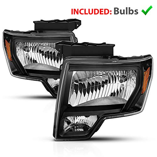 AmeriLite for 2009-2014 Ford F150 w/New Reflector Black Housing Direct Replacment Headlights Assembly Set - Passenger and Driver Side