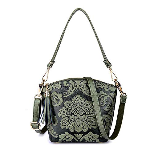 Small Bag Women One-Shoulder Messenger Bag Retro Embossed Ethnic Shell Tassel Handbag