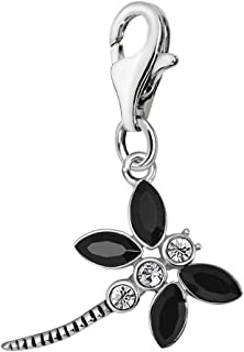 Quiges 925 Sterling Silver Cubic Zirconia Dragonfly Clip On Lobster Clasp Charm Pendant