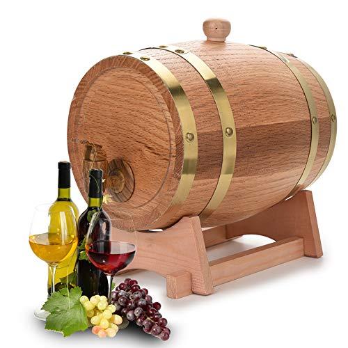 lyrlody Barril de Roble de Madera, Barricas Vino Decoloración Barril Artesanal con Grifo de Plástico Fácil de Dispensar, para Vino Brandy Whisky Tequila Ron (3L)