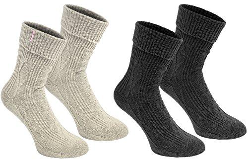 Brubaker 2 Paar Damen Socken - Dunkelgrau, Beige - One Size
