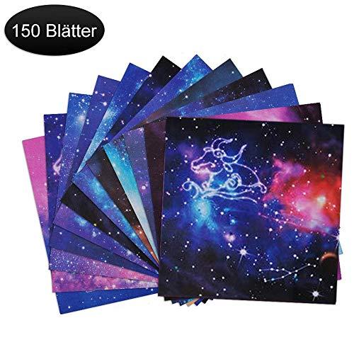 Origami Papier, 150 Blatt doppelseitiges Farben Faltpapier, 12 lebendige Designs von wunderschönen Weltraum- und Konstellation für Galaxien für Origami DIY Kunst und Bastelprojekte(15 x 15 cm)