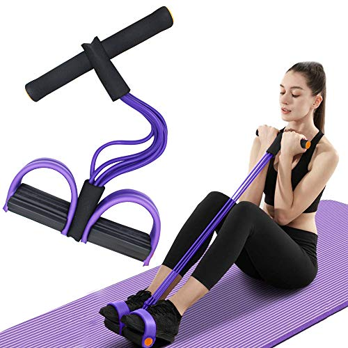 FateFan Multifunction Tension Rope, 6-Tube Elastic Yoga Pedal Puller Resistance Band, Natural Latex Tension Rope Fitness Equipment, for Abdomen/Waist/Arm/Leg Stretching Slimming Training (Purple)