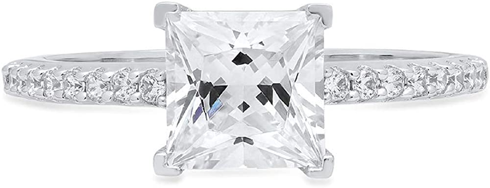 1.46ct Princess Cut Solitaire Engagement Wedding Bridal Promise Anniversary Ring in Solid 14k White Gold