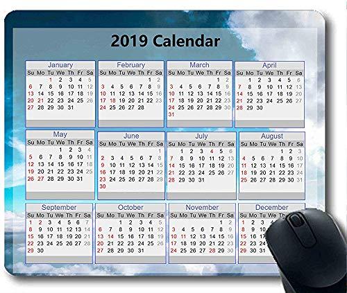 2019 Kalender Mauspad 30 * 25 * 0,3 cm Mauspad Sky and Sand Gaming mit genähten Kanten für Zuhause und Büro rutschfest