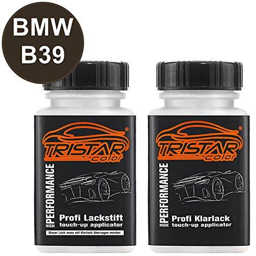 TRISTARcolor Autolack Lackstift Set für BMW B39 Mineralgrau Metallic/Mineral Grey Metallic Basislack Klarlack je 50ml