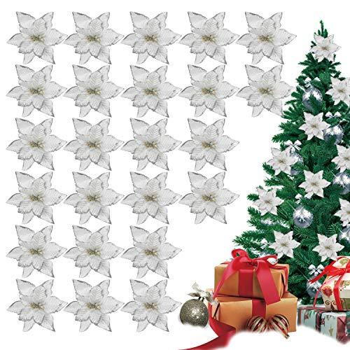 TATAFUN Glitzer Kunstblumen Christbaumschmuck Kunstblume Weihnachts Hochzeitsdekoration Blumen Weihnachtsbaumschmuck Kränze (Silber)